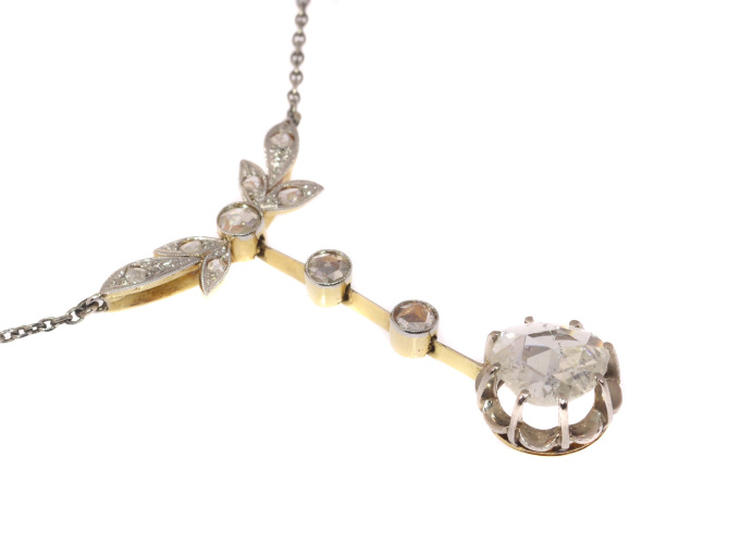 Large rose cut diamond estate pendant on chain necklace by Unknown