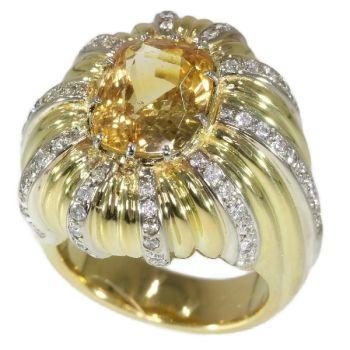 Vintage 6.56 crt cert. natural Yellow Sapphire and diamond gold cocktail ring by Unknown Artist