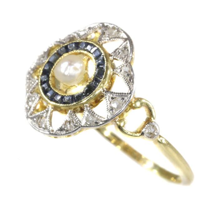 Art Deco - Belle Epoque ring with diamonds sapphires and a pearl by Unknown Artist