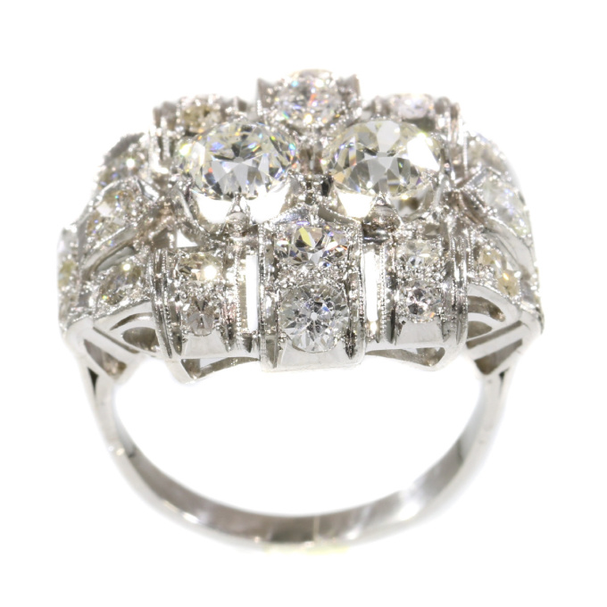 Strong design Art Deco platinum diamond engagement ring by Unknown Artist