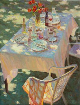 Lente lunch - Spring Lunch - Oil on Linnen - In Stock by Juane Xue