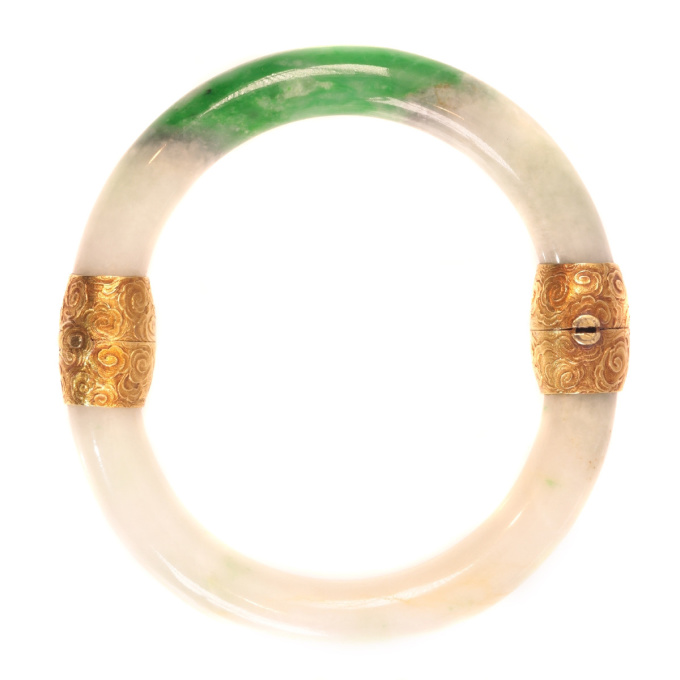 Victorian A-jade certified bangle with 18K gold closure and hinge by Unknown Artist