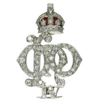 Platinum Art Deco diamond set enameled Crest of the 4th Queen's Own Hussars by Unknown Artist