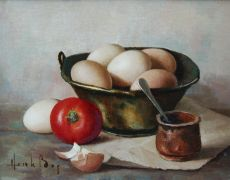 Still life with tomato and eggs by Henk Bos