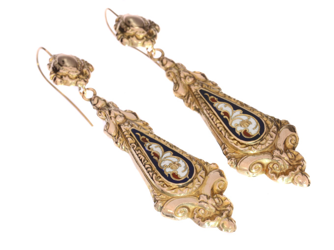 Antique gold dangle earrings with enamel Victorian era by Unknown