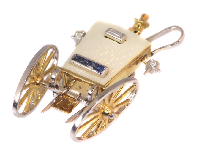 Whimsical gold brooch carriage  typical Vintage Fifties style Mellerio by Unknown Artist