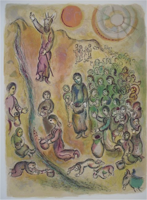 And thou shalt smite the rock and water shall come forth by Marc Chagall