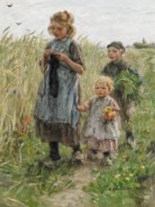 Three Children Walkig in the Fields by Jan Zoetelief Tromp