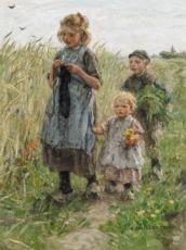 Three Children Walkig in the Fields