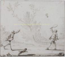 Het Pluimspel, tekening met gewassen inkt van de hand van Johan Hendrik Keller by Johan Hendrik Keller