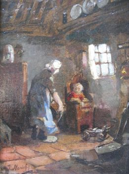 Little girl with entertaining mother by Jacob Maris