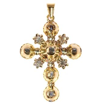 18th Century Antique gold cross table cut rose cut diamonds set by Unknown Artist