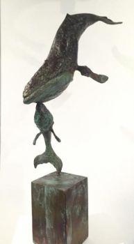 Bultrug met kalfje by Hans Jouta