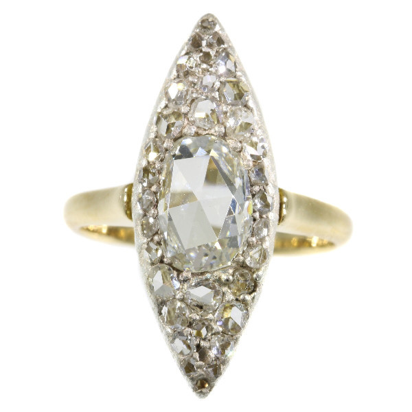 Vintage Belle Epoque navette shaped diamond ring by Unknown Artist