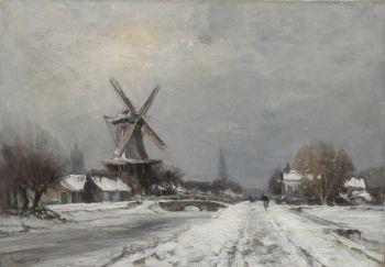 A windmill in a winter landscape near Delft by Louis Apol