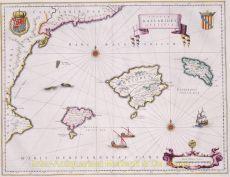 Beautiful map of the islands of Mallorca, Minorca, and Ibiza by Blaeu, Joan