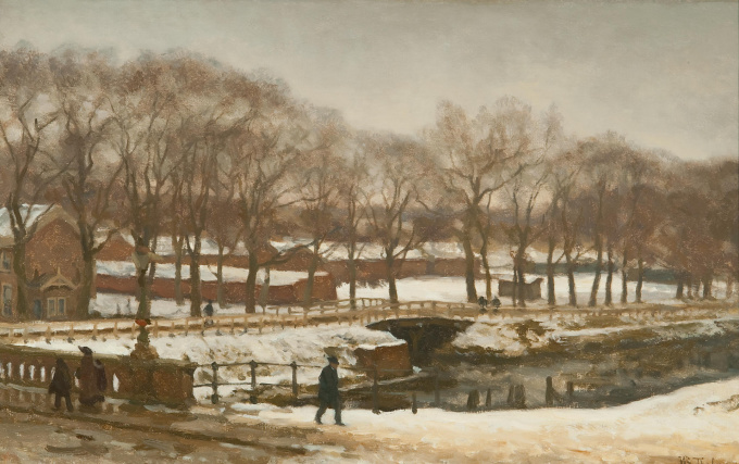 The 'Witte Brug' in The Hague during winter by Willem Bastiaan Tholen