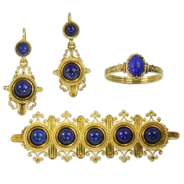 Neo-etruscan revival parure ring brooch earrings filigree granules lapis lazuli by Unknown Artist
