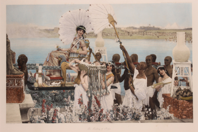 """""""The finding of Moses"""" (original engraving/ photogravure, hand coloured) by Lawrence Alma-Tadema"""
