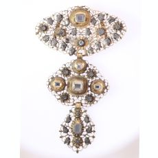 18th Century filigree gold cross pendant table cut diamonds called A la Jeanette by Unknown