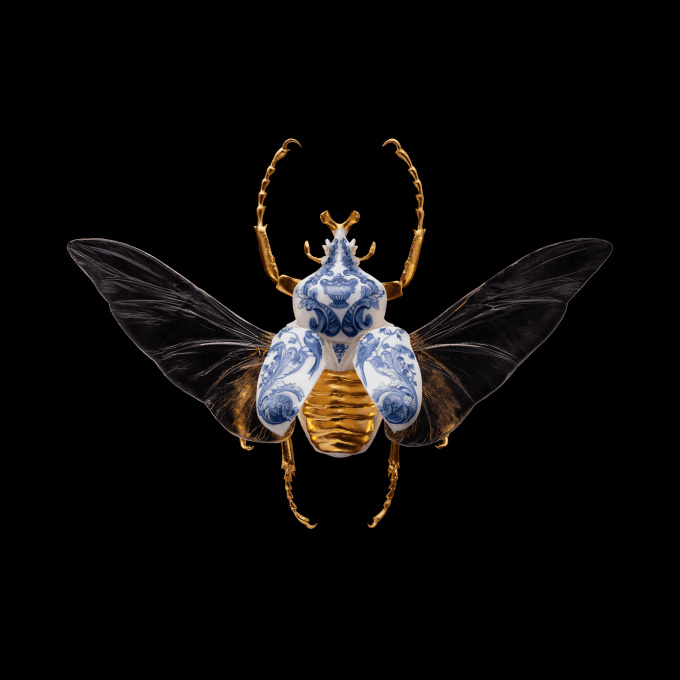 Anatomia Blue Heritage - Goliath Beetle Open Wings by Samuel Dejong