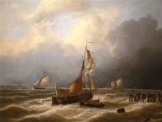 Ships at Sea near the Coast by Louis Verboeckhoven