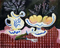 Pitcher with lavender and fruit bowl