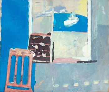 Interieur, venster met veerboot by Paul Hugo ten Hoopen