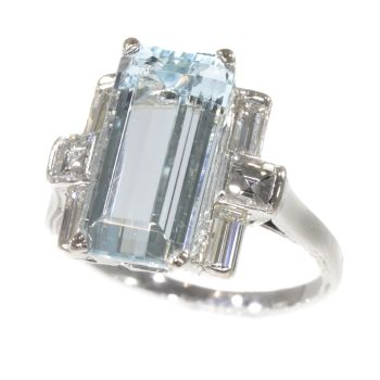 Vintage Fifties design white gold ring with aquamarine and diamonds by Unknown Artist