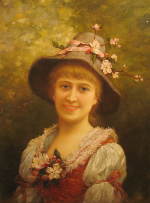 Girl wearing floral hat by Emile Eisman Semenowsky