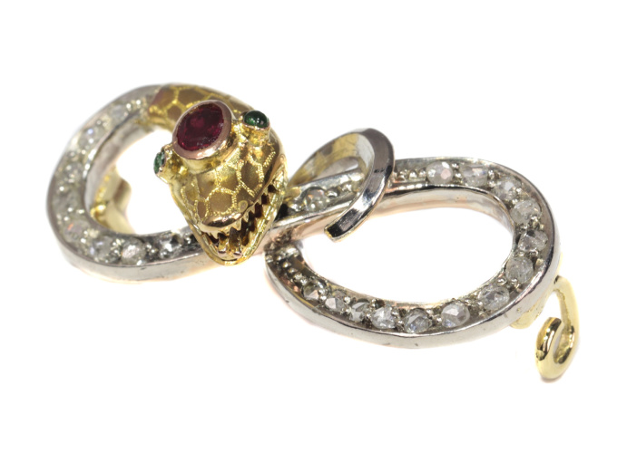 Victorian gold serpent pin set with diamonds curled snake brooch by Unknown