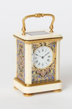 A miniature French cloisonne and ivory carriage timepiece, circa 1880 by Unknown Artist