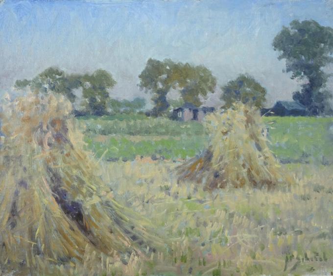 Haystacks in a field by Anthonie Pieter Schotel