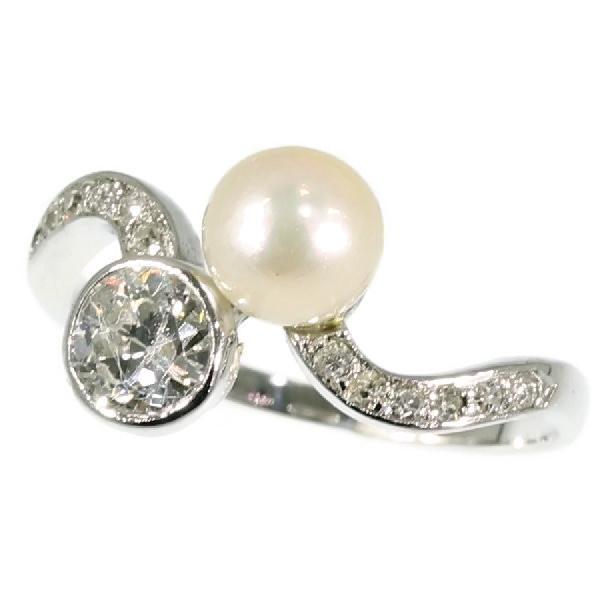 Platinum estate toi et moi ring by Unknown