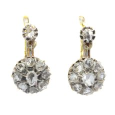 Vintage antique late Victorian rose cut diamond earrings by Unknown Artist