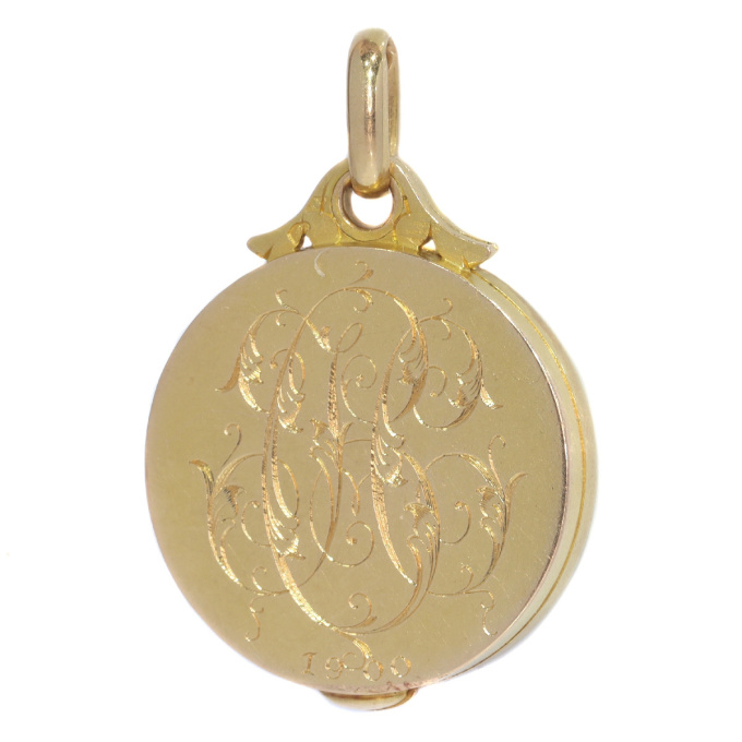 French Art Nouveau gold locket with hidden mirror by Unknown Artist
