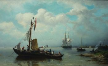 A Fishing Boat in calm Waters by Nicolaas Riegen