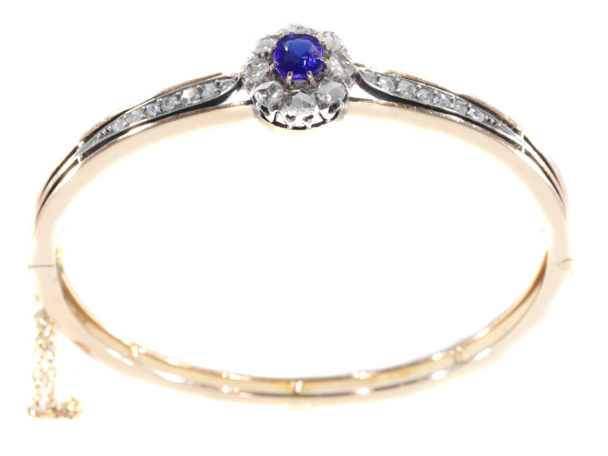 Antique Victorian gold bangle set with diamonds and blue strass by Unknown