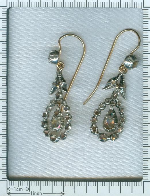 Late Georgian rose cut diamond long pendent earrings by Unknown