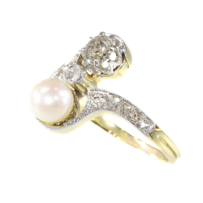 Belle Epoque diamond and pearl engagement ring model toi et moi by Unknown