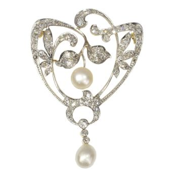 Antique stylish Art Nouveau diamond and pearl brooch by Unknown Artist