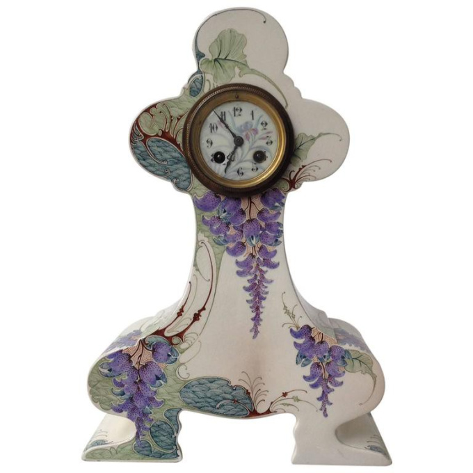 Clock with floral design by Unknown Artist