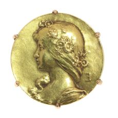Antique gold pin Lady face signed Emile Vernier France by Emile Vernier