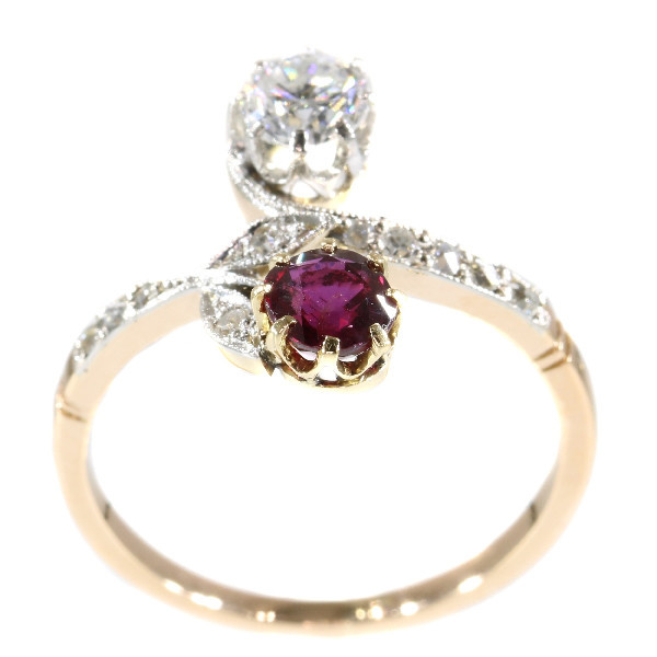 Belle Epoque antique diamond and ruby ring romantic motive toi et moi by Unknown