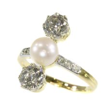 Vintage diamond and pearl engagement ring Belle Epoque period by Unknown
