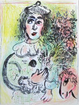 Le clown fleuri - The clown with flowers by Marc Chagall