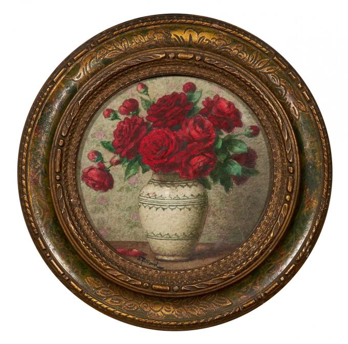 Red roses in a vase by Willem de Zwart