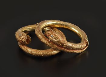 A PAIR OF JAVANESE HINDU-BUDDHIST STYLE BRACELETS by Unknown Artist