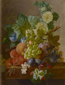 Grapes, peaches and other fruit on a stone ledge by Johannes Cornelis de Bruyn
