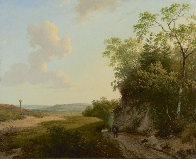 An extensive summer landscape by Andreas Schelfhout